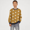 Tommy Hilfiger Fleece Crew Neck Sweatshirt For Kids-Dark Yellow with Stars Allover-BE10706
