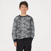 Tommy Hilfiger Fleece Crew Neck Sweatshirt For Kids-Grey with Black Allover Print-BE10707