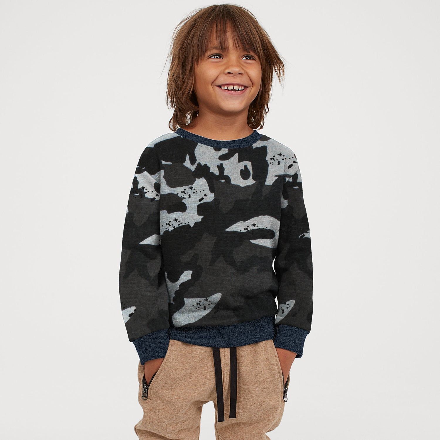 Tommy Hilfiger Fleece Crew Neck Sweatshirt For Kids-Grey with Black & Brown Camouflage-BE10708
