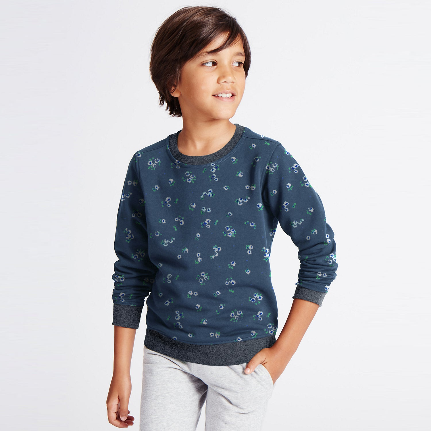 Tommy Hilfiger Fleece Crew Neck Sweatshirt For Kids-Light Navy with Flower Print-BE10710