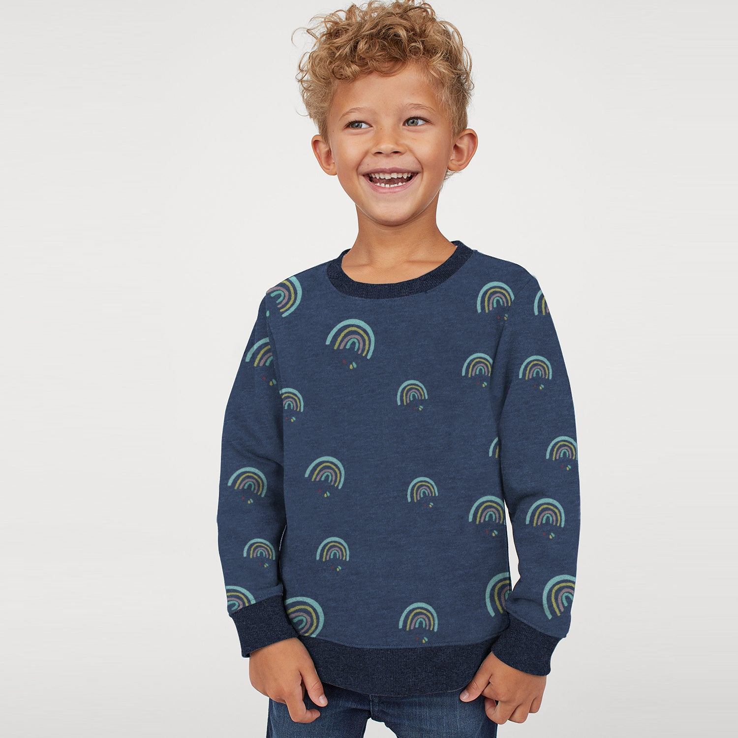 Tommy Hilfiger Fleece Crew Neck Sweatshirt For Kids-Navy Melange with Print-BE10709