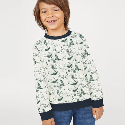 Tommy Hilfiger Fleece Crew Neck Sweatshirt For Kids-Off White Melange with Allover Print-BE10680