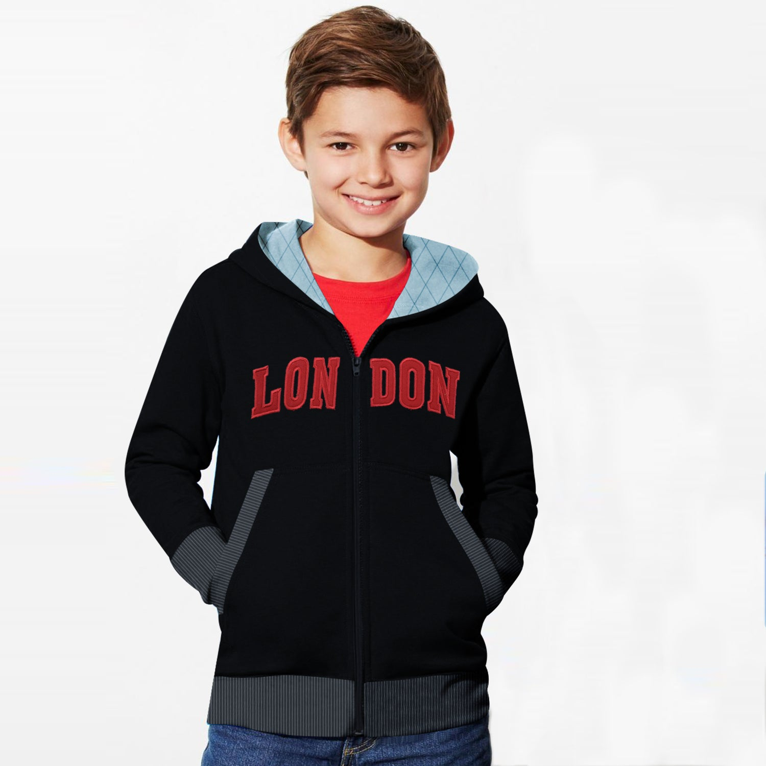 TH Fleece Quilted Zipper Hoodie For Kids-Black with Red-BE10890