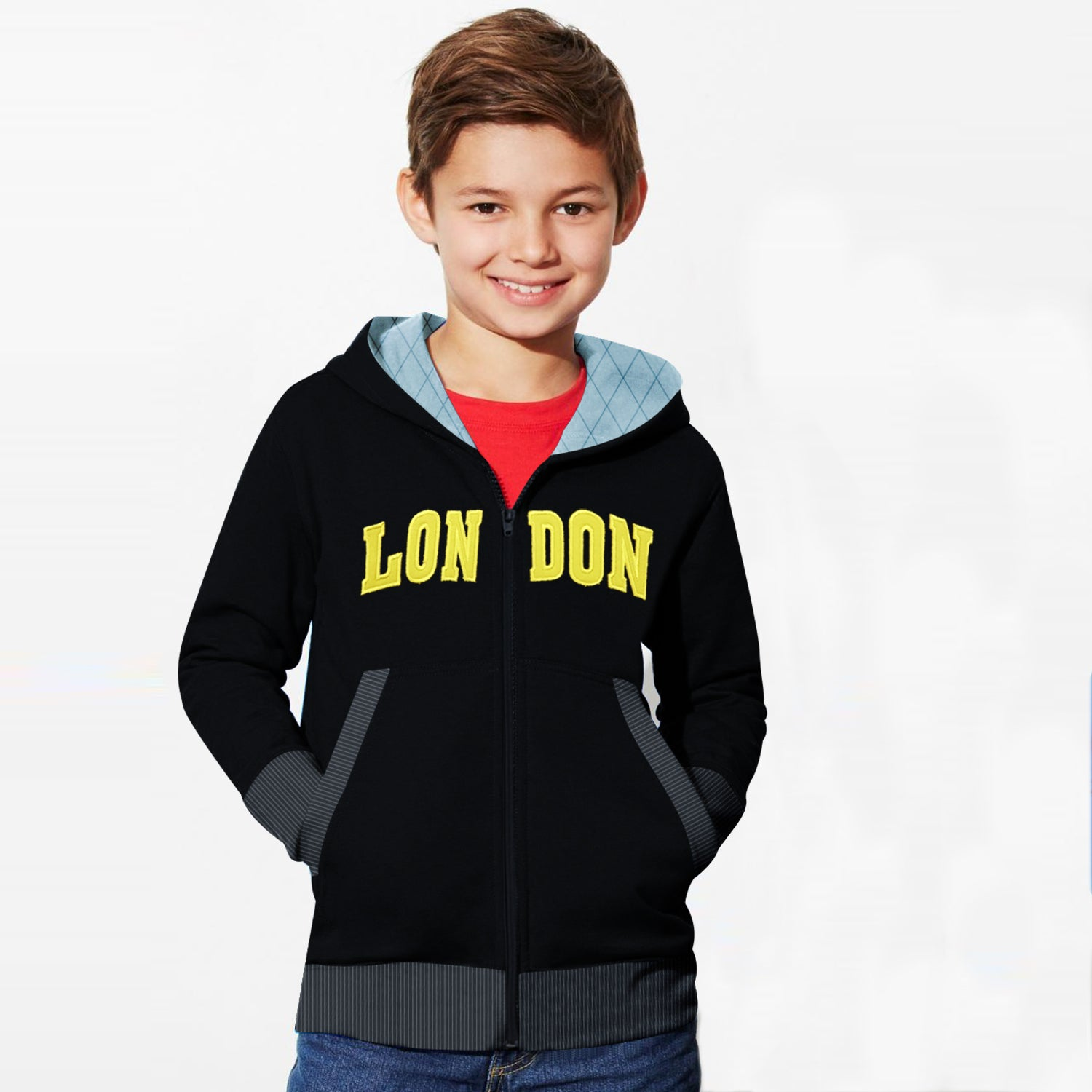 TH Fleece Quilted Zipper Hoodie For Kids-Black with Yellow-BE10893