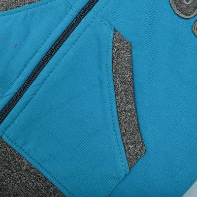 Tommy Hilfiger Fleece Quilted Zipper Hoodie For Kids-Cyan Blue & Charcoal Melange-BE10481