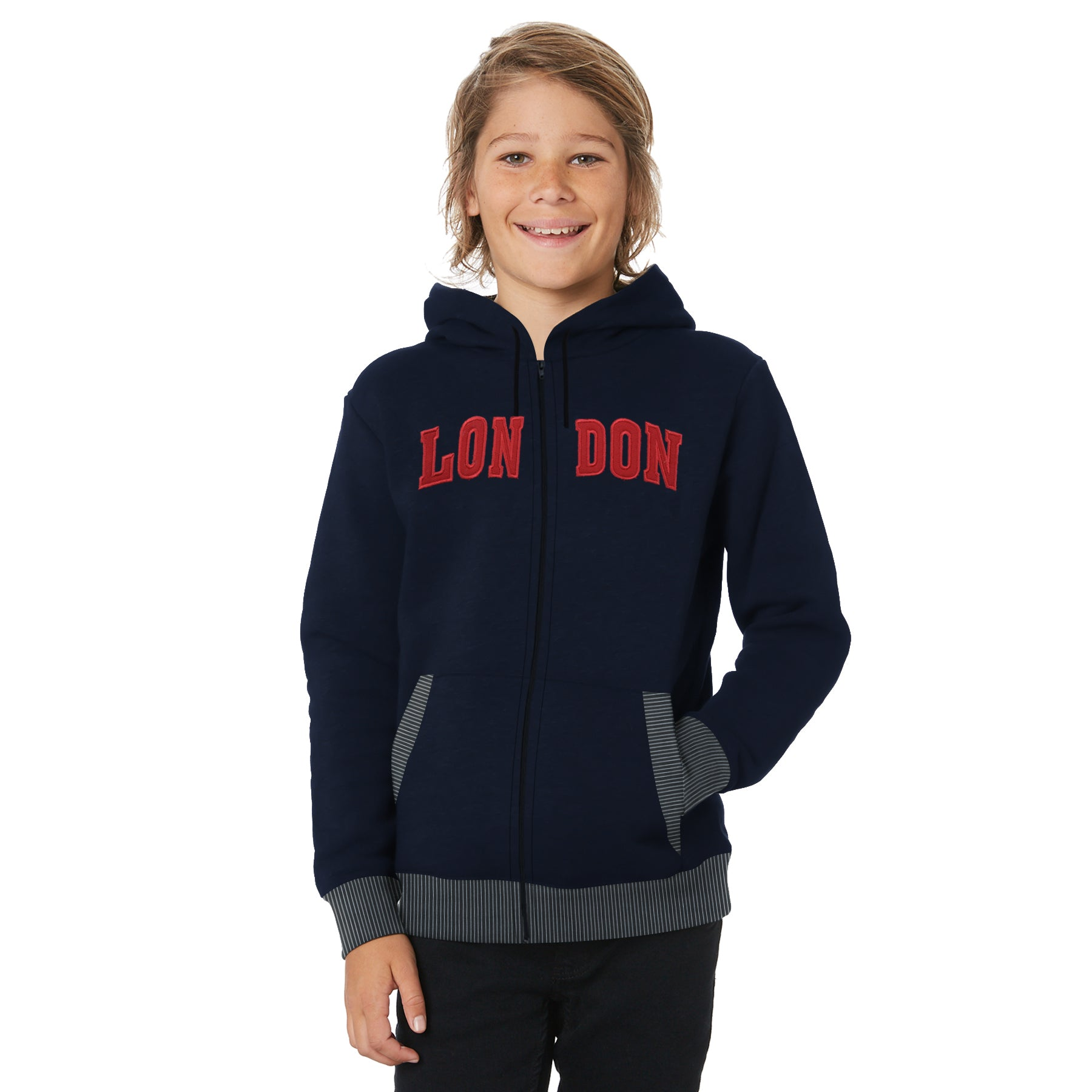 TH Fleece Quilted Zipper Hoodie For Kids-Dark Blue with Red-BE10892