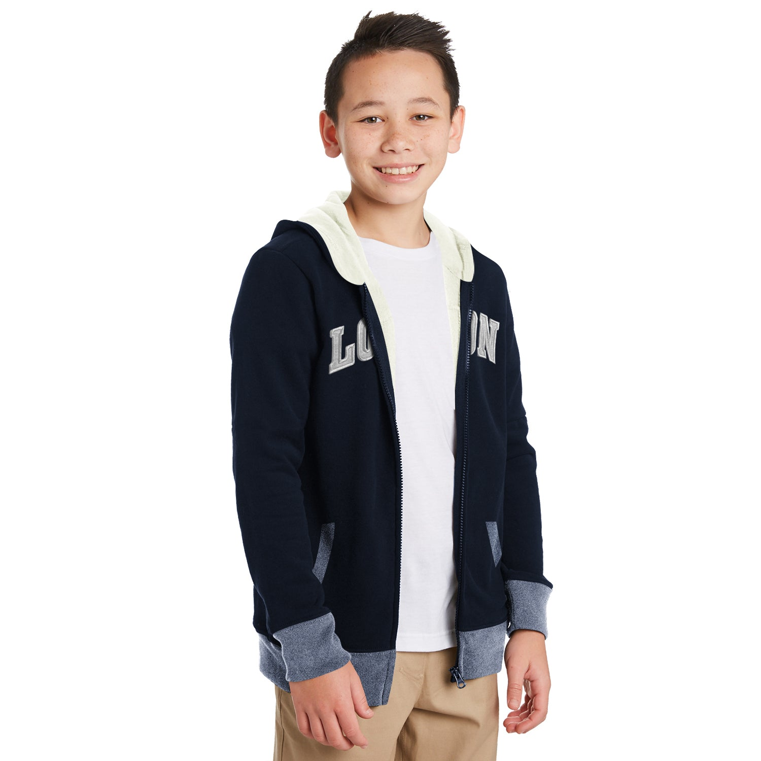 TH Fleece Quilted Zipper Hoodie For Kids-Dark Navy with Grey-BE10889