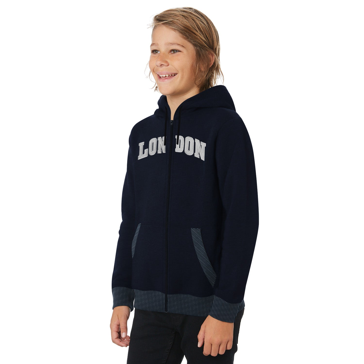 Tommy Hilfiger Fleece Quilted Zipper Hoodie For Kids-Dark Navy with Grey Embroidery-BE10982