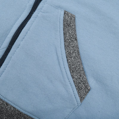 Tommy Hilfiger Fleece Quilted Zipper Hoodie For Kids-Light Steel Blue-BE10478