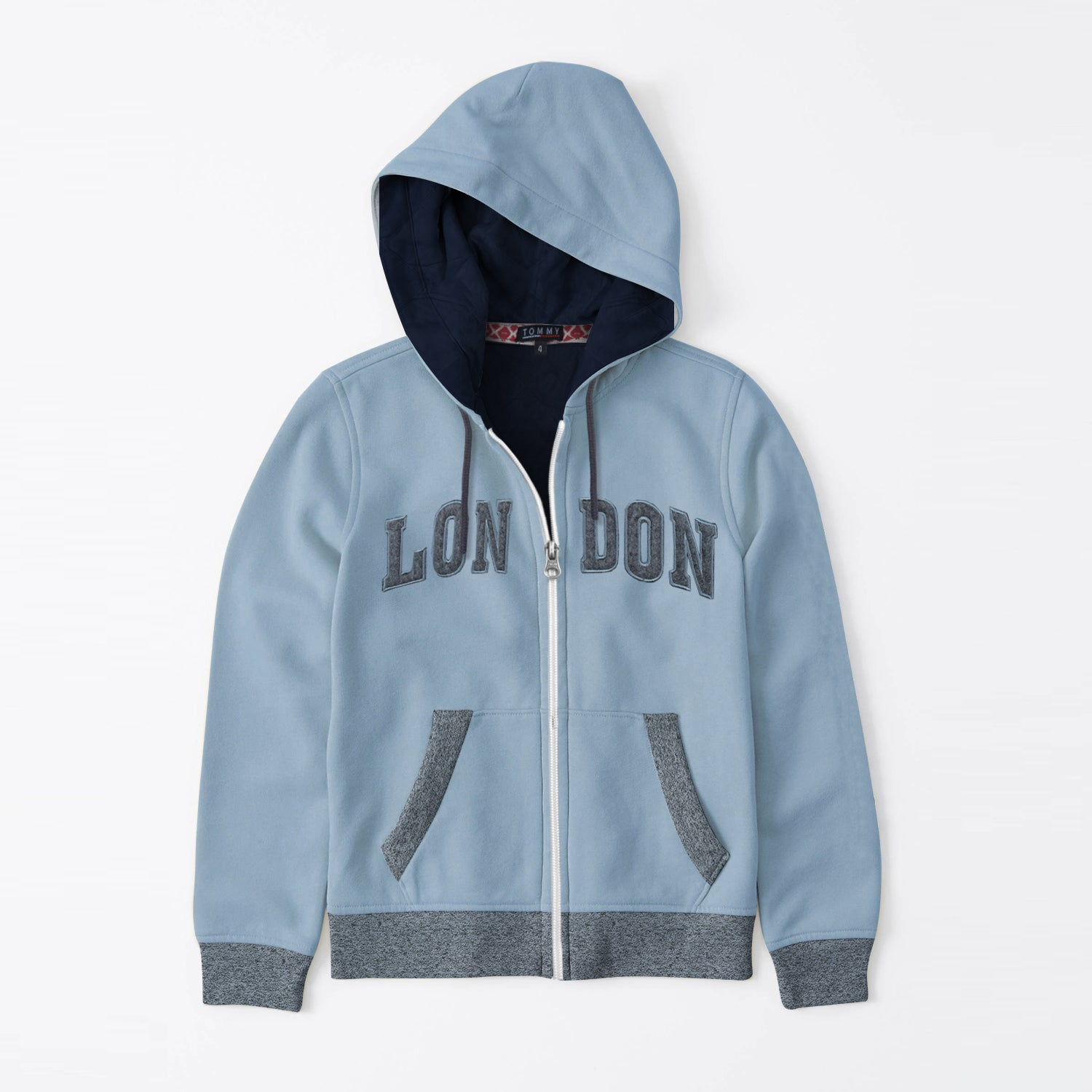 Tommy Hilfiger Fleece Quilted Zipper Hoodie For Kids-Light Steel Blue & Charcoal Melange-BE10594