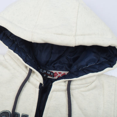 Tommy Hilfiger Fleece Quilted Zipper Hoodie For Kids-Off White & Charcoal Melange-BE10472