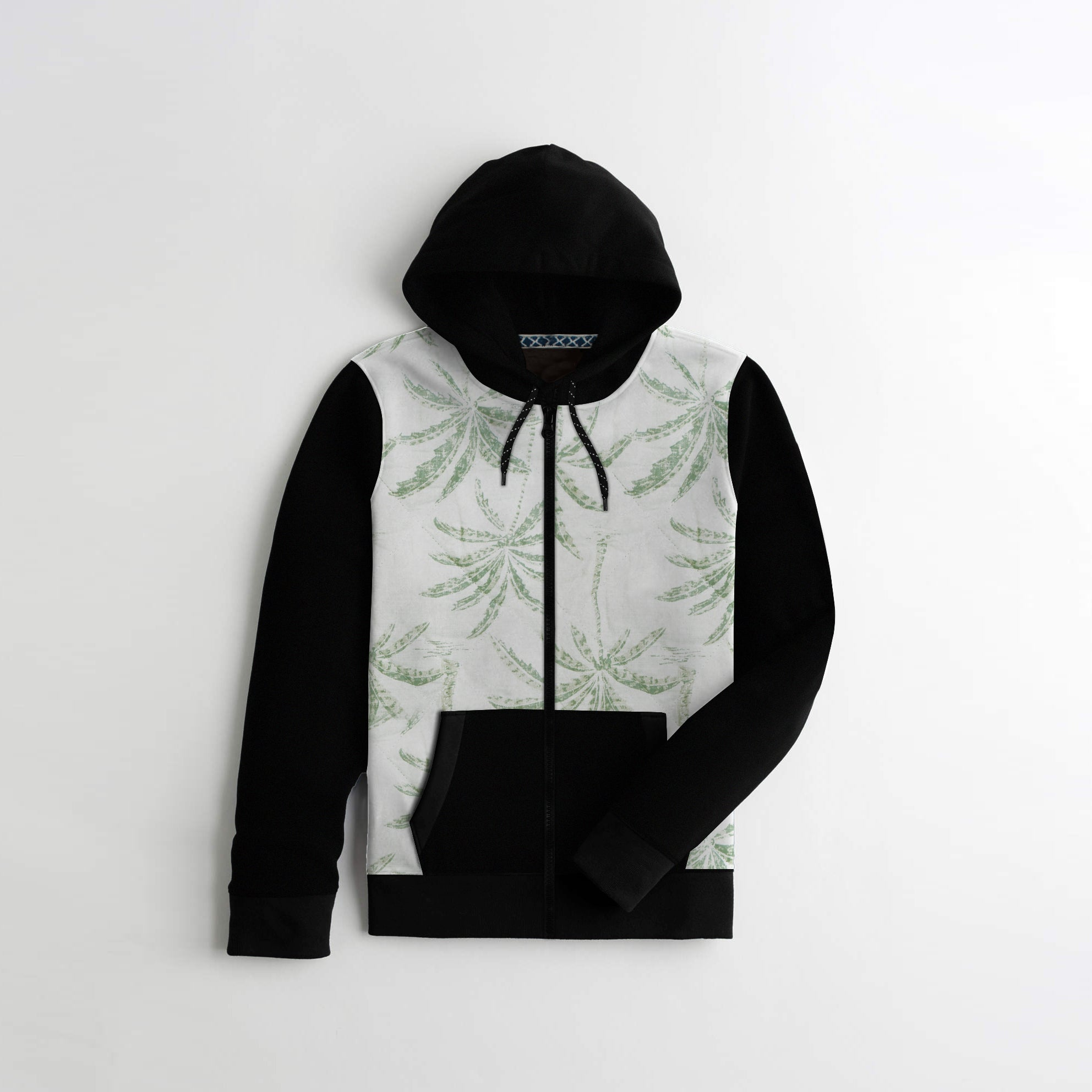 Tommy Hilfiger Quilted Zipper Hoodie For Kids-All Over Print & Black-AN1407