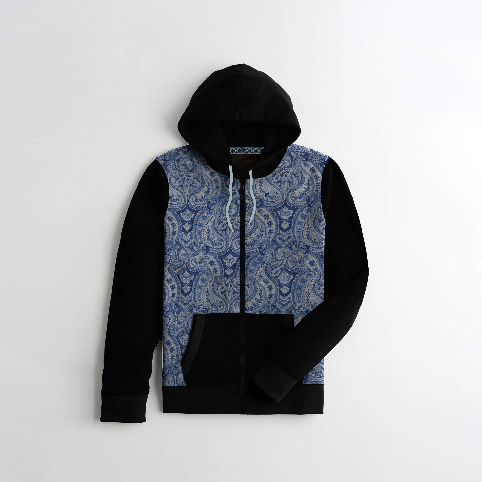 Tommy Hilfiger Quilted Zipper Hoodie For Kids-All Over Print & Black-AN1412