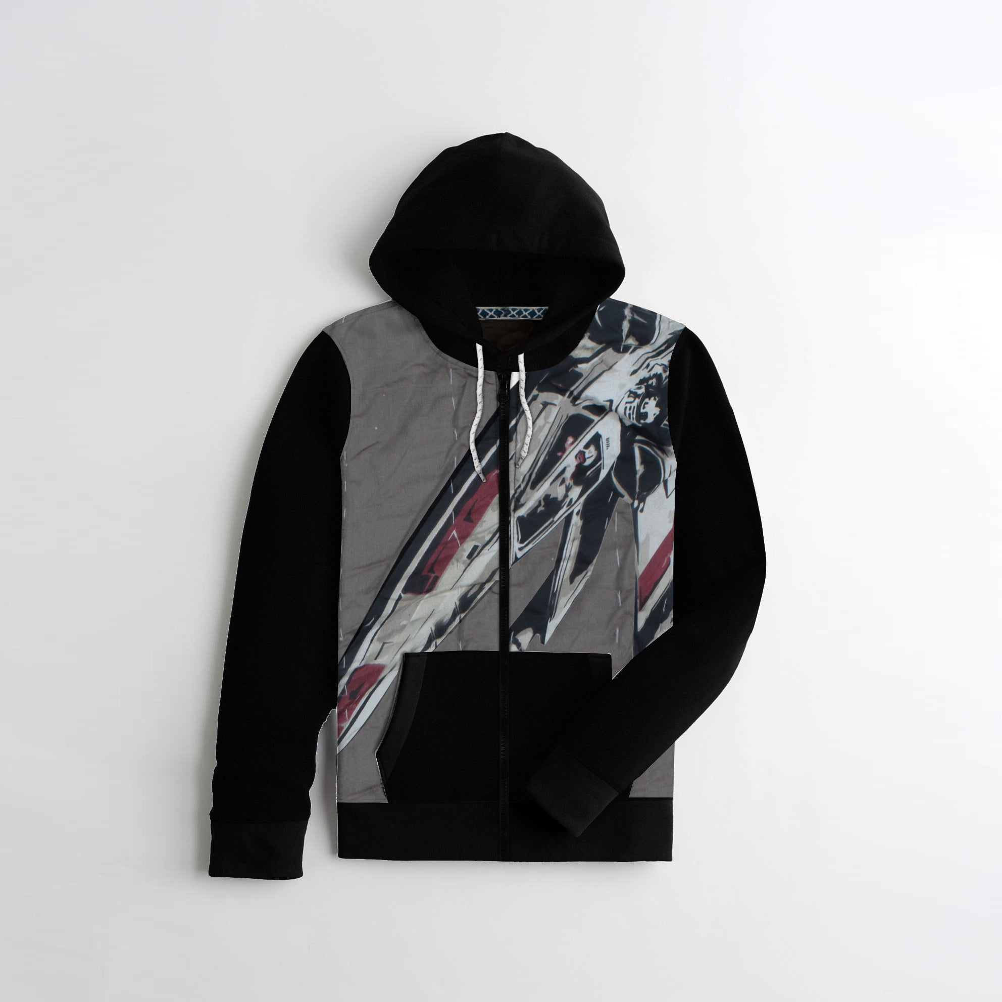 Tommy Hilfiger Quilted Zipper Hoodie For Kids-All Over Print With Black-AN1401