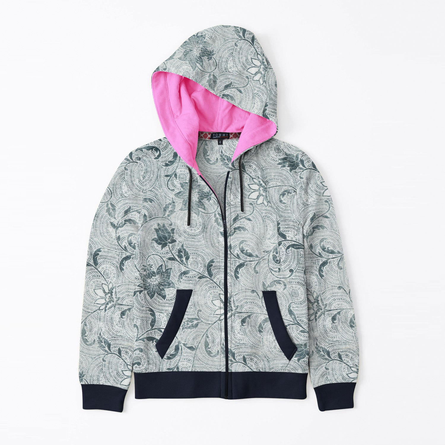 Tommy Hilfiger Quilted Zipper Hoodie For Kids-Allover Green Floral Print & Dark Navy-BE11073