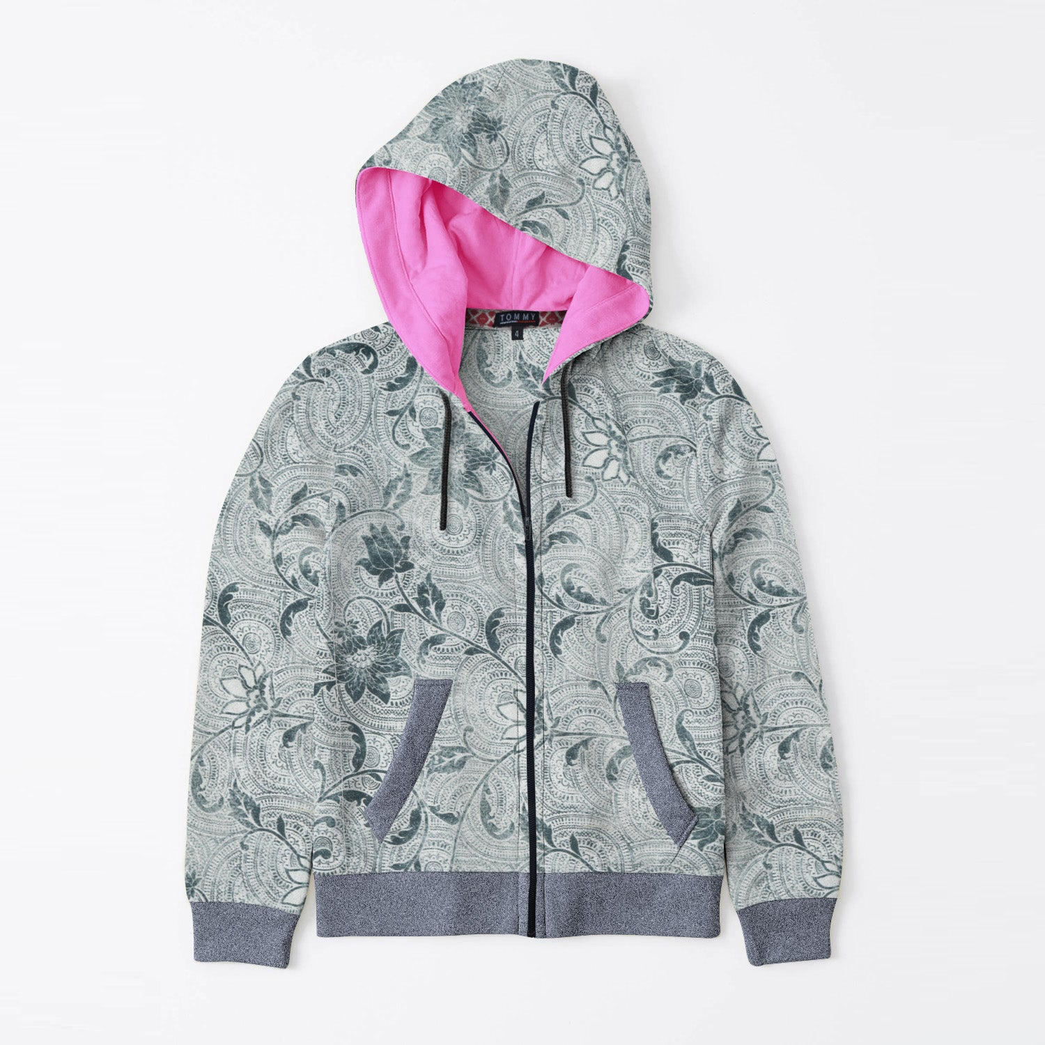 Tommy Hilfiger Quilted Zipper Hoodie For Kids-Allover Green Floral Print & Navy Melange-BE11076