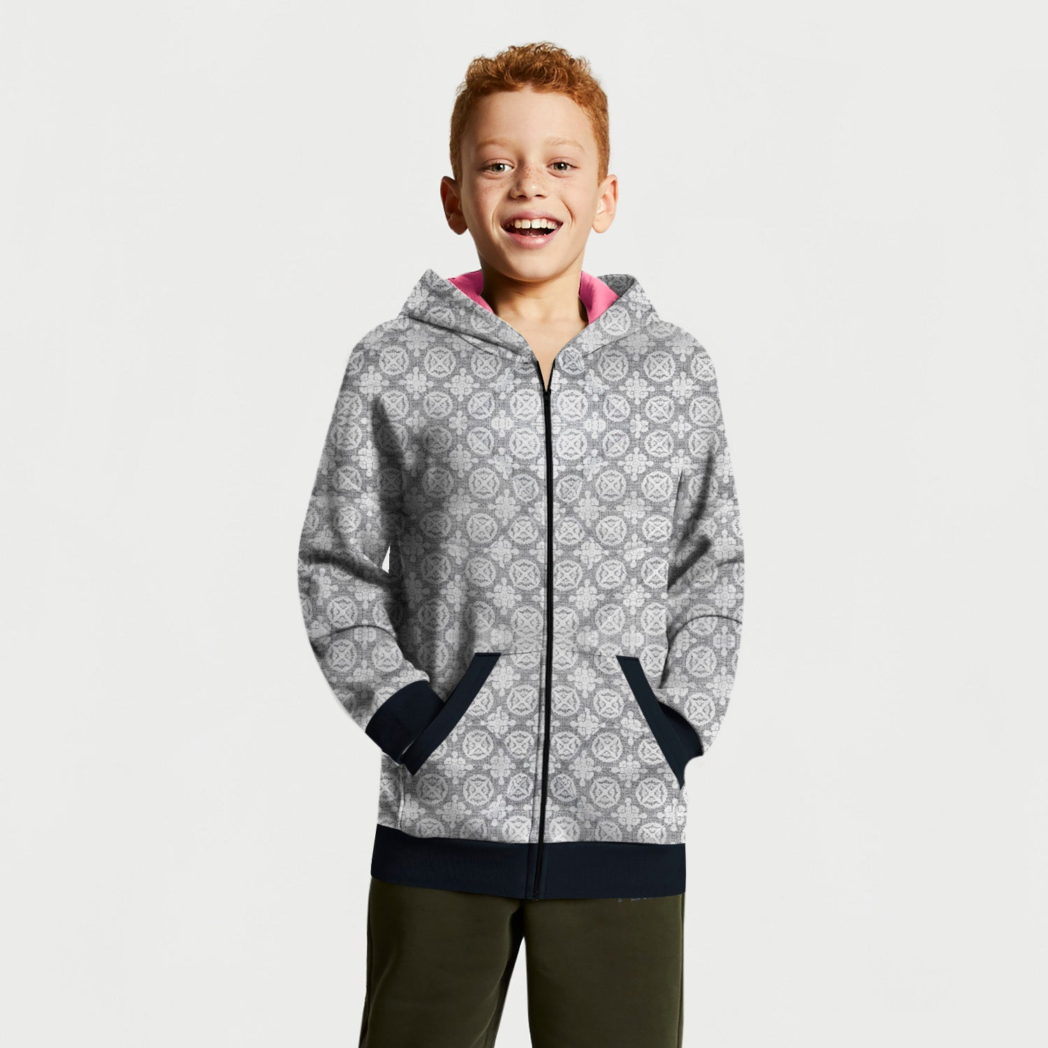 Tommy Hilfiger Quilted Zipper Hoodie For Kids-Allover Print-BE10989