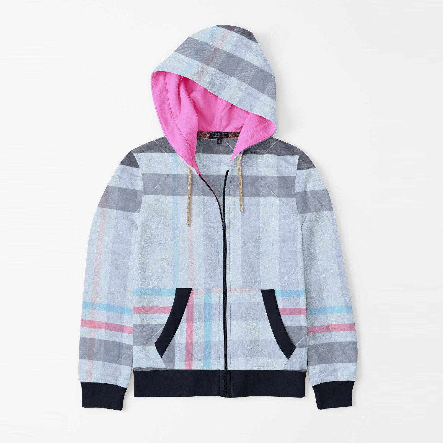 Tommy Hilfiger Quilted Zipper Hoodie For Kids-Allover Print & Dark Navy-BE11072