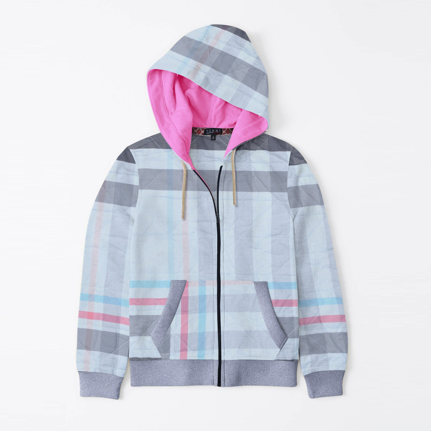 Tommy Hilfiger Quilted Zipper Hoodie For Kids-Allover Print & Navy Melange-BE11070