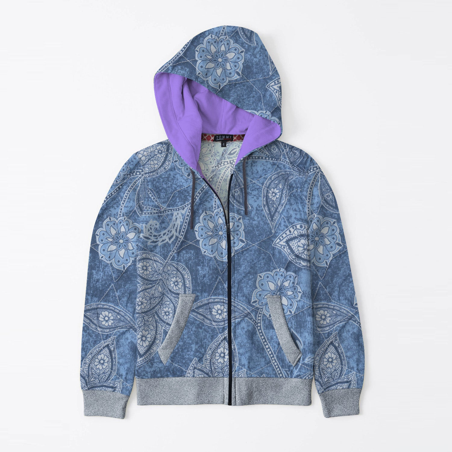 Tommy Hilfiger Quilted Zipper Hoodie For Kids-Allover Print & Navy Melange-BE11087