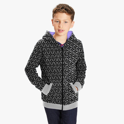 Tommy Hilfiger Quilted Zipper Hoodie For Kids-Black & Check-BE10584
