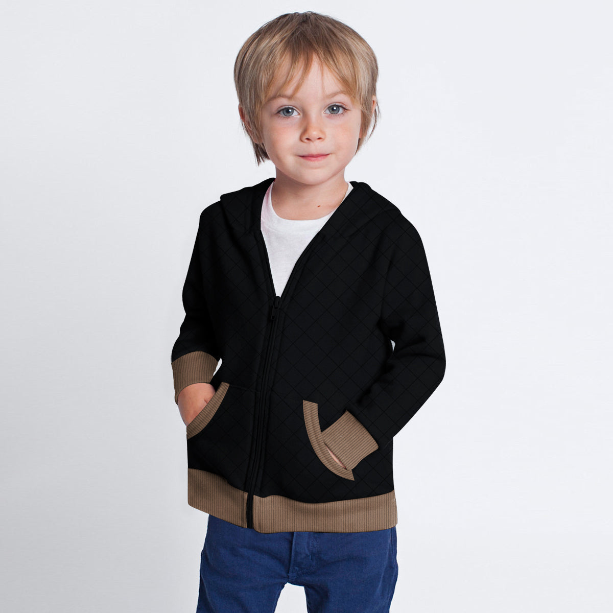 TH Quilted Zipper Hoodie For Kids-Black & Light Brown-BE10787
