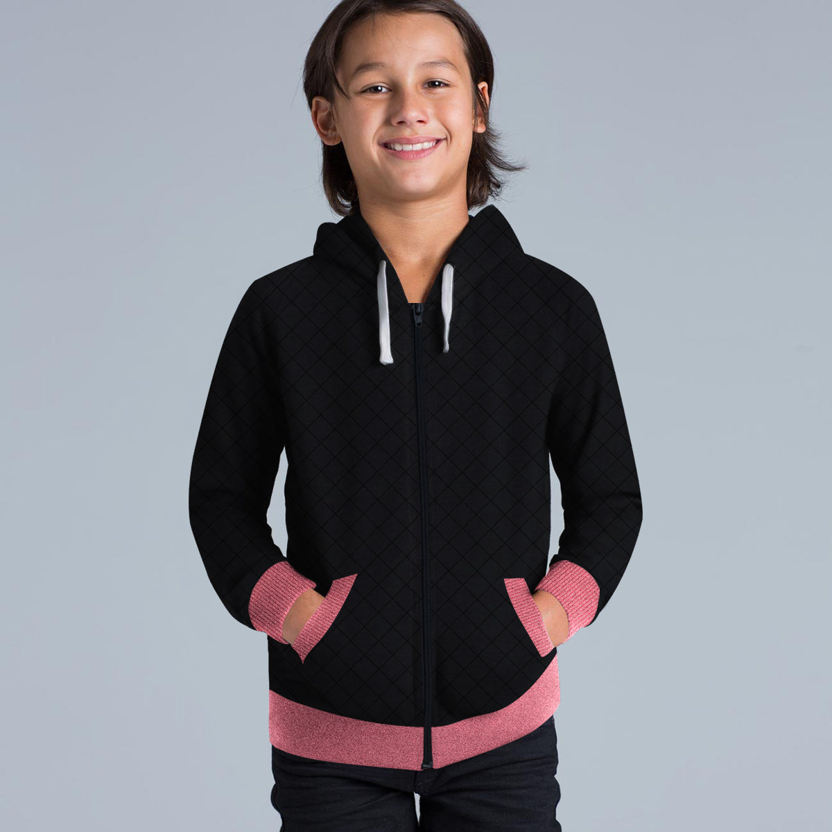 TH Quilted Zipper Hoodie For Kids-Black & Pink Melange-BE10788