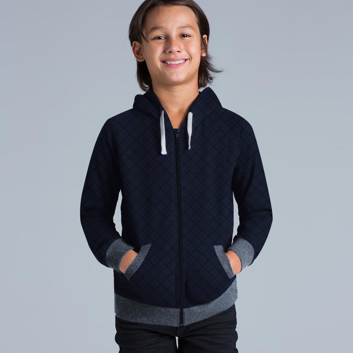 TH Quilted Zipper Hoodie For Kids-Blue & Grey Melange-BE10899
