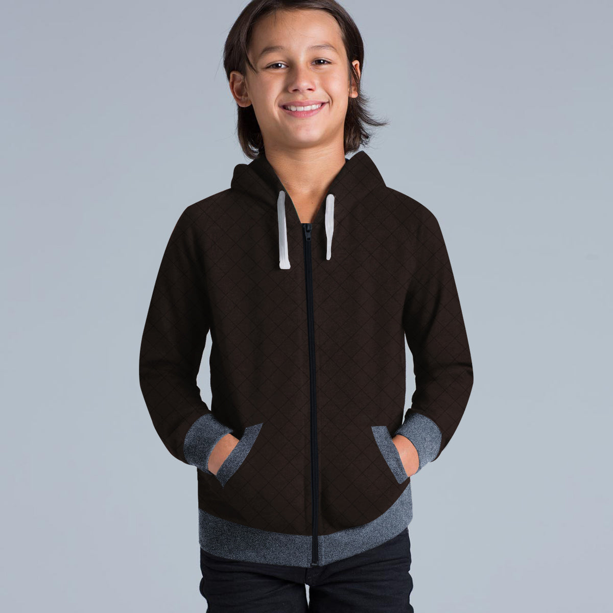 Tommy Hilfiger Quilted Zipper Hoodie For Kids-Brown & Navy Melange-BE10999
