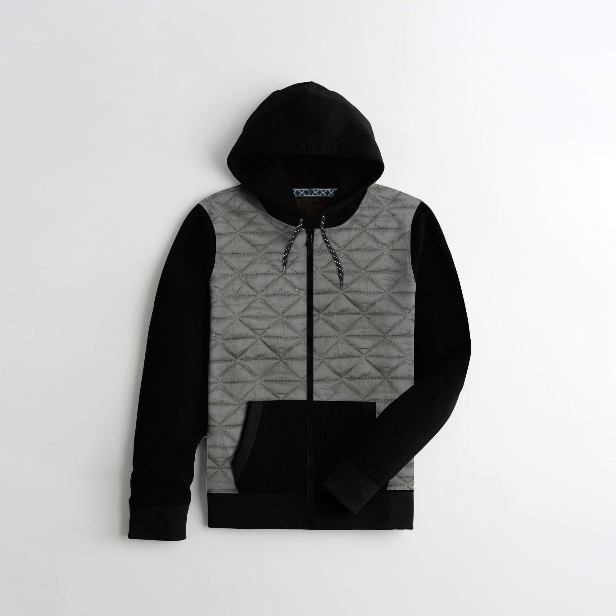 Tommy Hilfiger Quilted Zipper Hoodie For Kids-Dark Grey & Black-AN1416