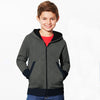 Tommy Hilfiger Quilted Zipper Hoodie For Kids-Dark Grey & Dark Navy-BE11004