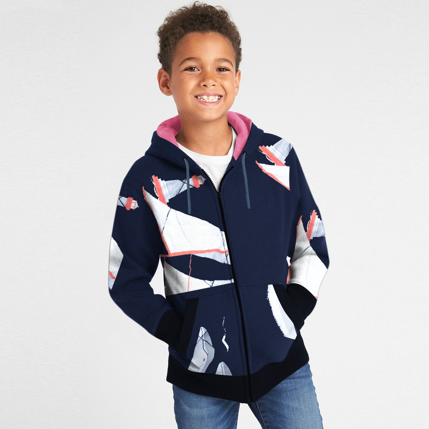 Tommy Hilfiger Quilted Zipper Hoodie For Kids-Dark Navy with Allover Print-BE10990