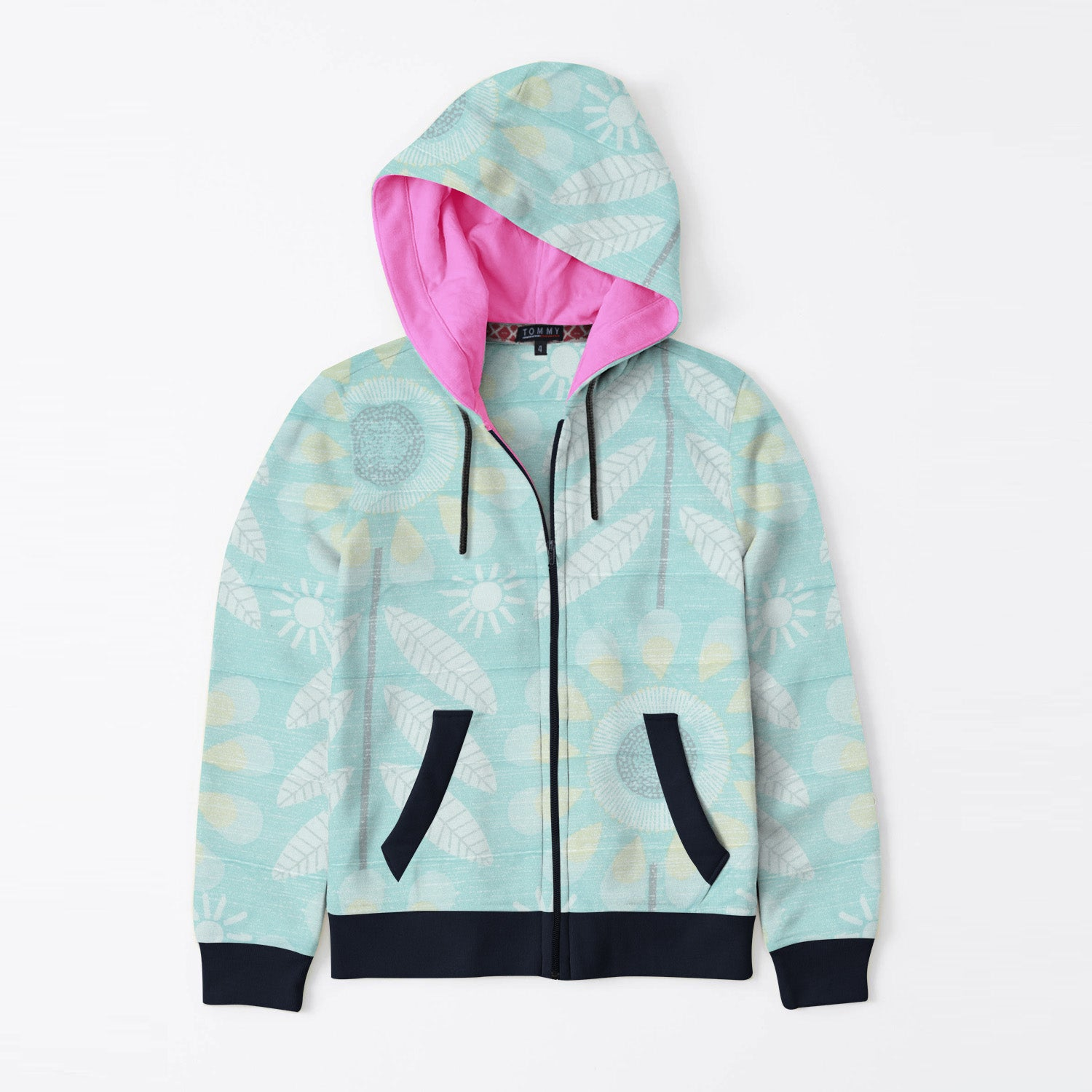 Tommy Hilfiger Quilted Zipper Hoodie For Kids-Floral Print & Dark Navy-BE11074