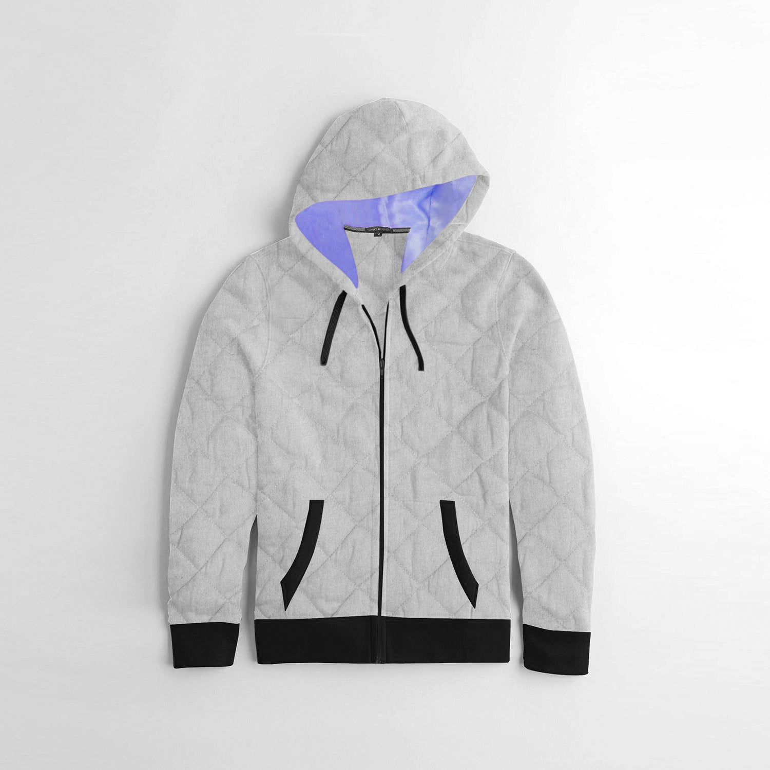TH Quilted Zipper Hoodie For Kids-Grey & Black-BE10617