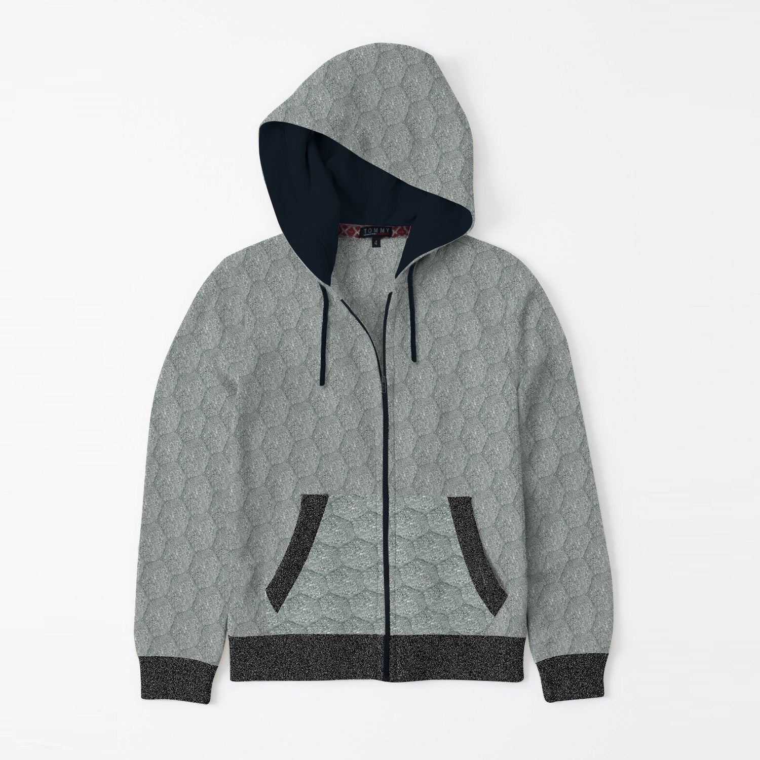 TH Quilted Zipper Hoodie For Kids-Grey Melange-SP3383