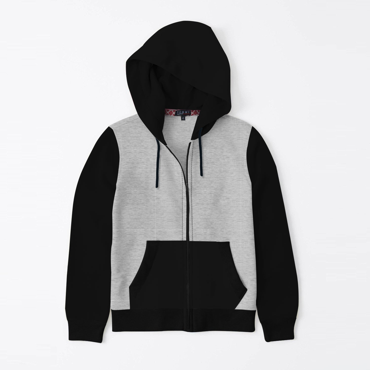 TH Quilted Zipper Hoodie For Kids-Grey Melange With Black-SP3448