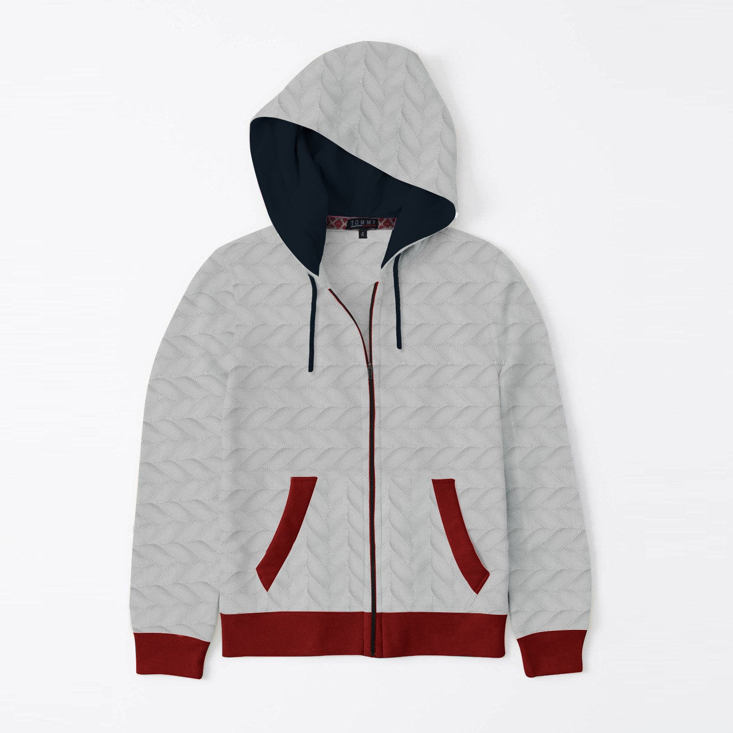 Tommy Hilfiger Quilted Zipper Hoodie For Kids-Ice Mint With Red-SP3375