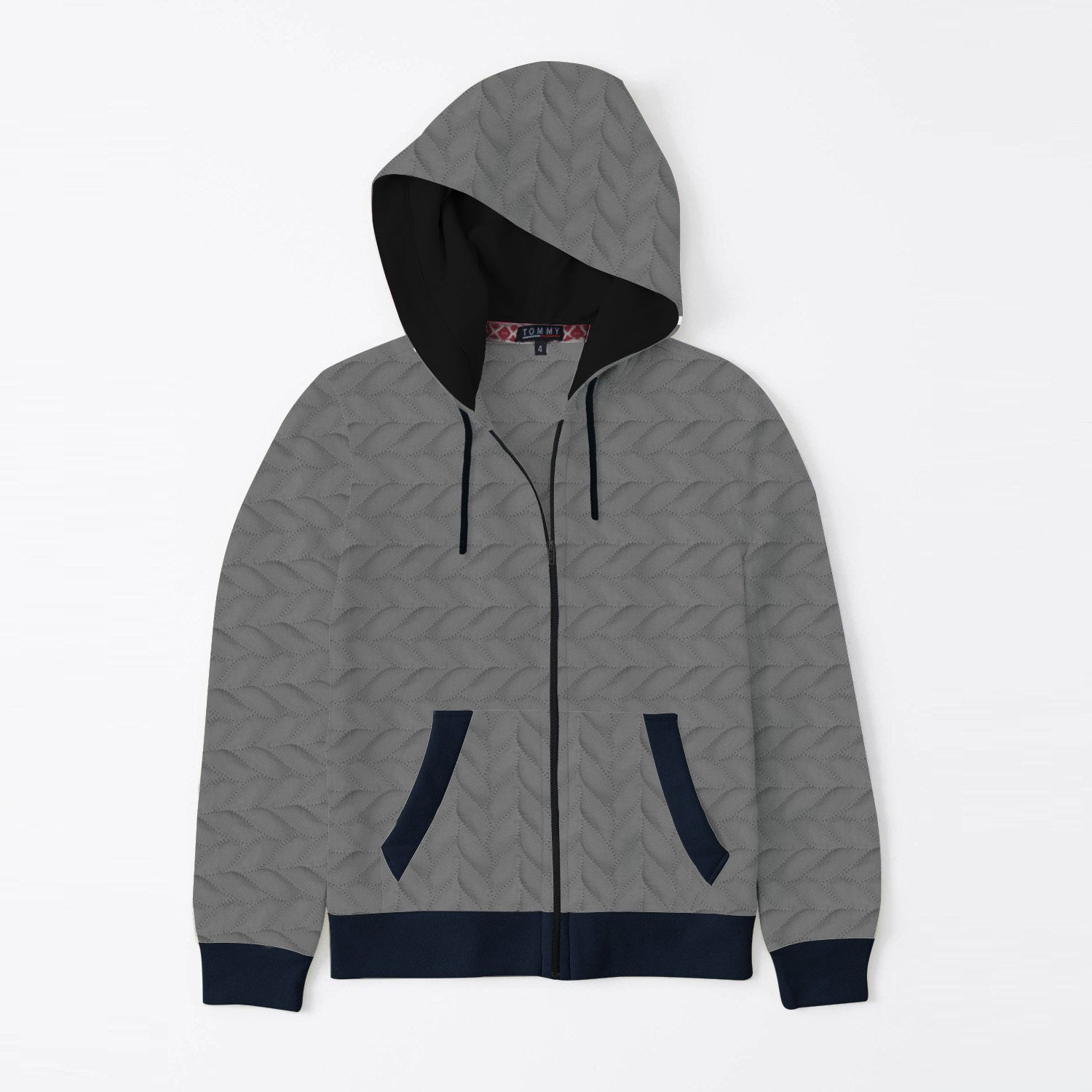 Tommy Hilfiger Quilted Zipper Hoodie For Kids-Dark Grey-SP3396