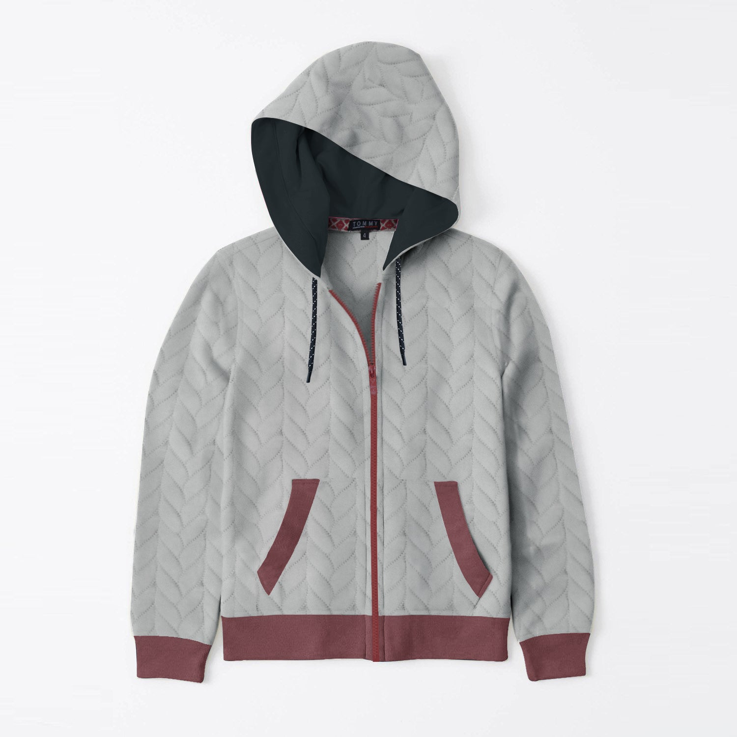 TH Quilted Zipper Hoodie For Kids-Grey & Maroon-BE12921