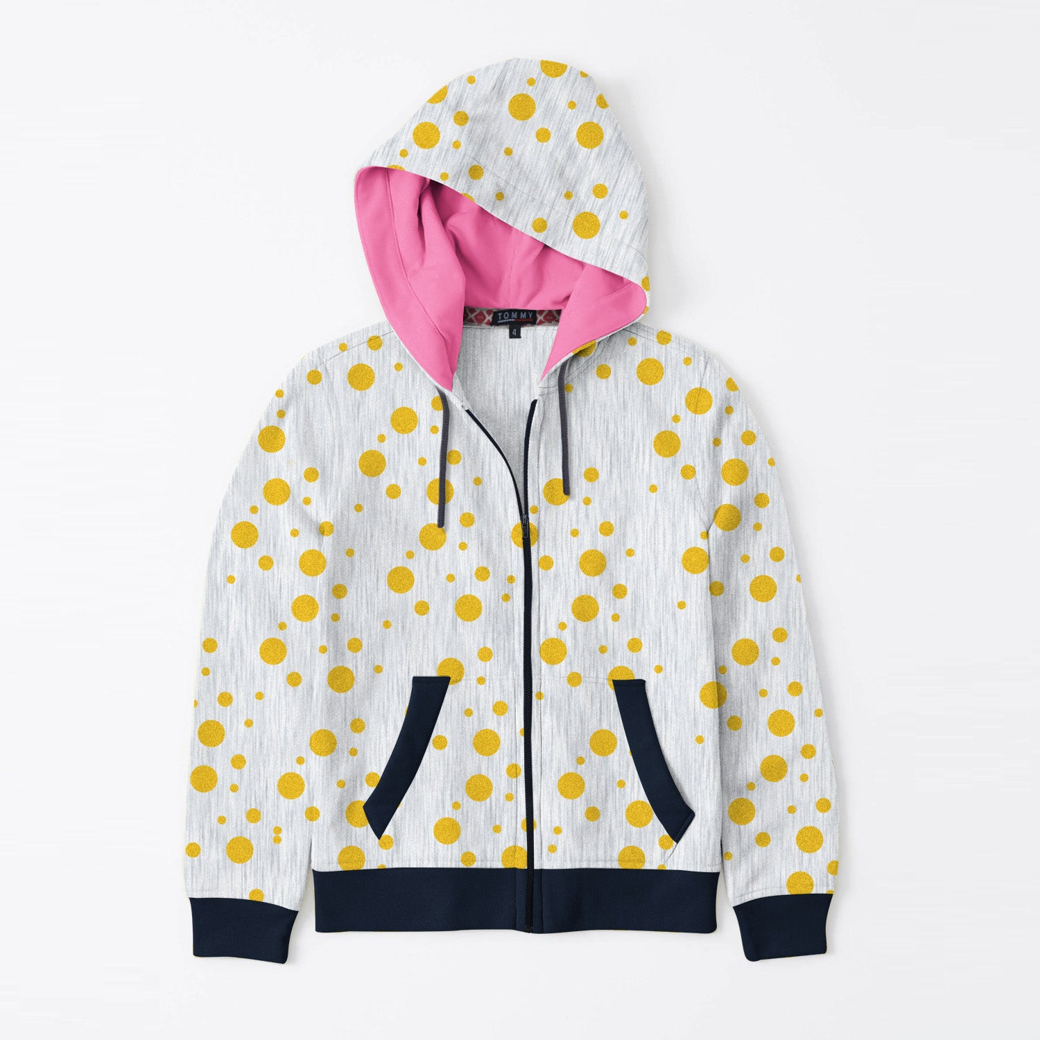Tommy Hilfiger Quilted Zipper Hoodie For Kids-Grey Melange with Golden Dotted & Dark Navy-BE11075