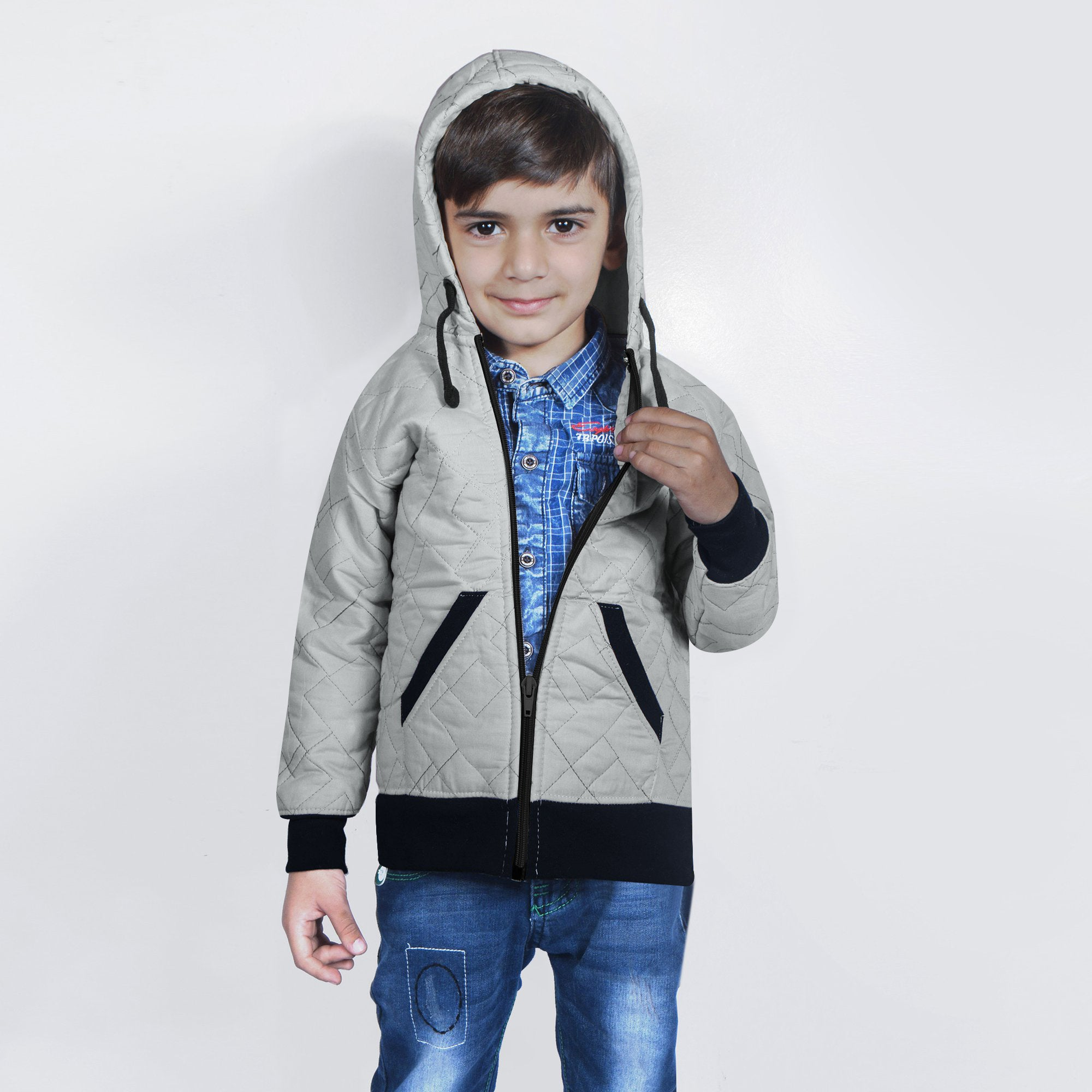 Tommy Hilfiger Quilted Zipper Hoodie For Kids-Light Grey & Black-BE11002