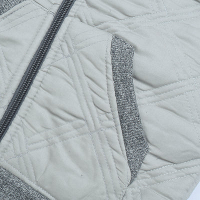 Tommy Hilfiger Quilted Zipper Hoodie For Kids-Light Grey & Charcoal Melange-BE10592
