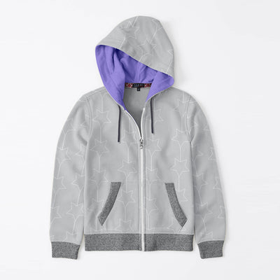Tommy Hilfiger Quilted Zipper Hoodie For Kids-Light Grey & Charcoal Melange-BE10596