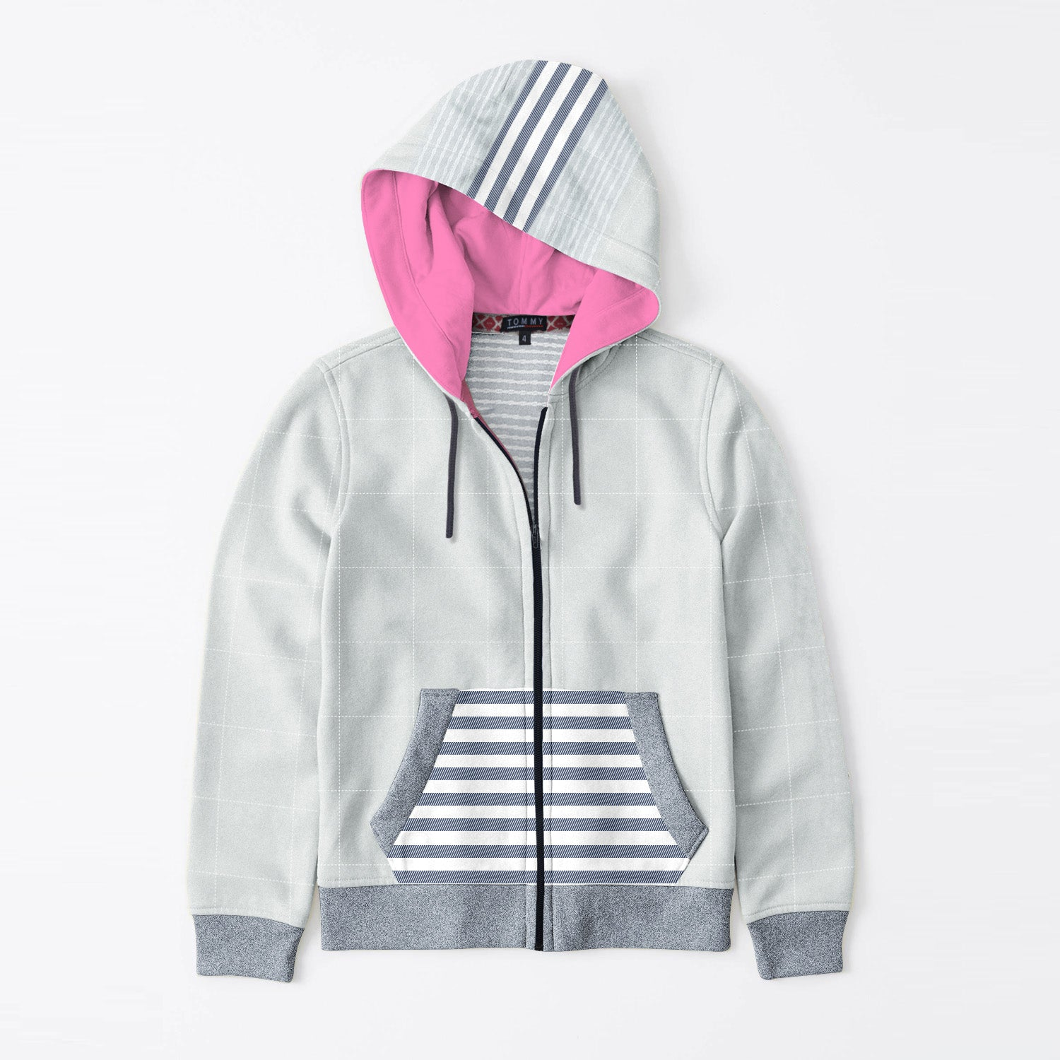 Tommy Hilfiger Quilted Zipper Hoodie For Kids-Light Grey with Stripe & Navy Melange-BE11090