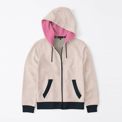 Tommy Hilfiger Quilted Zipper Hoodie For Kids-Light Peach & Dark Navy-BE10597