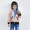Tommy Hilfiger Quilted Zipper Hoodie For Kids-Light Pink with Black-BE11085
