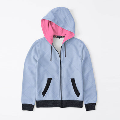 Tommy Hilfiger Quilted Zipper Hoodie For Kids-Light Sky & Black Melange-BE10489