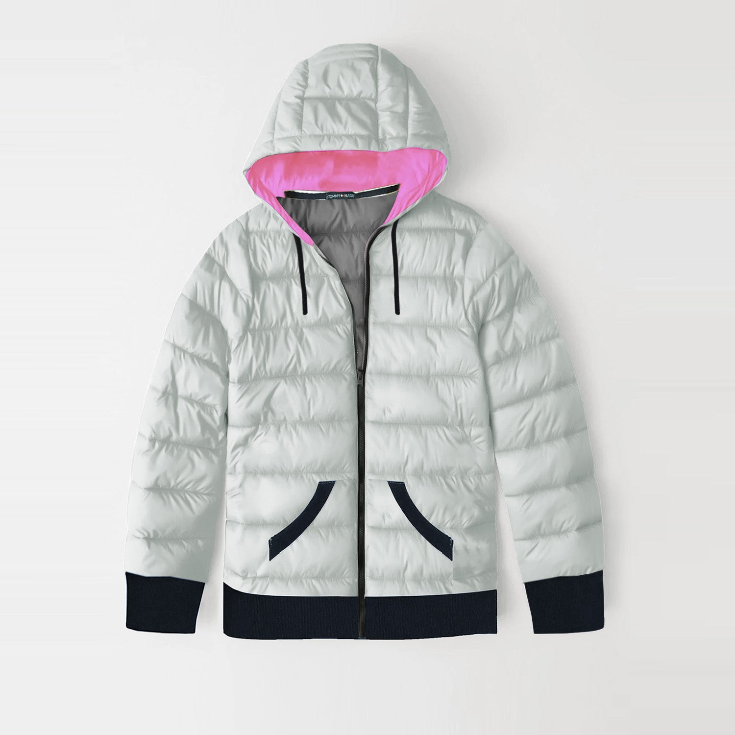 Tommy Hilfiger Quilted Zipper Hoodie For Kids-Mint Cream with Dark Navy-BE10980