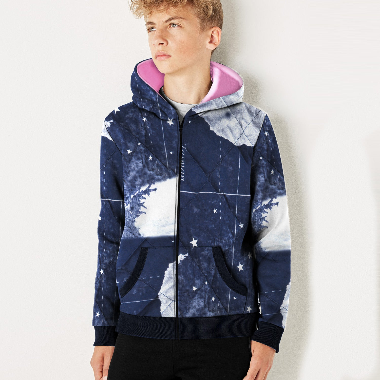 Tommy Hilfiger Quilted Zipper Hoodie For Kids-Navy & White Allover Print-BE10988