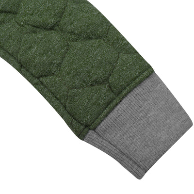 Tommy Hilfiger Quilted Zipper Hoodie For Kids-Olive Green & Grey Melange-BE10487